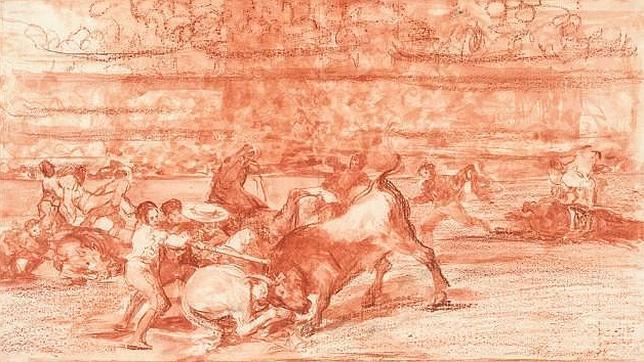 Francisco de Goya. Dos grupos de picadores arrollados de seguida por un solo toro. 1814-1816.