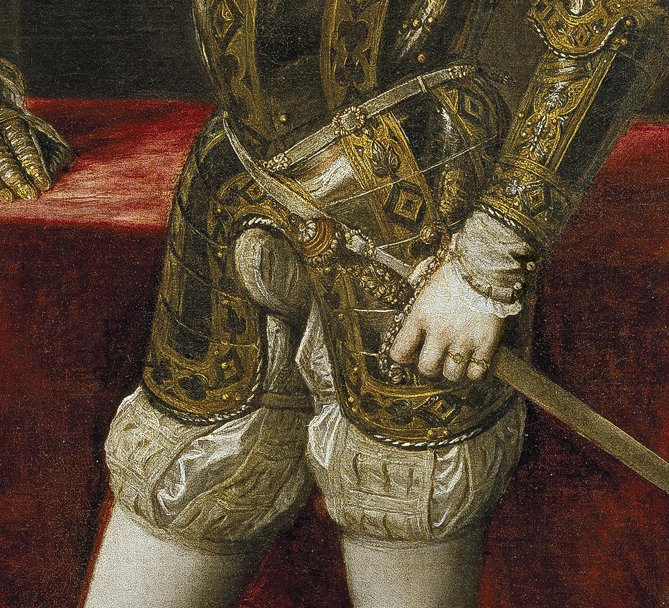 Tiziano Vecellio. Felipe II. Detalle. 1551. Museo del Prado. Madrid.