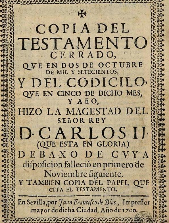 Copia del testamento de Carlos II.