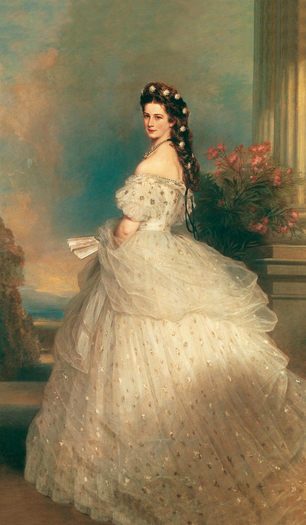 Franz Xaver Winterhalter. La emperatriz Isabel. 1865. Hofburg, Viena. El traje que aparece en el retrato es obra de Worth.