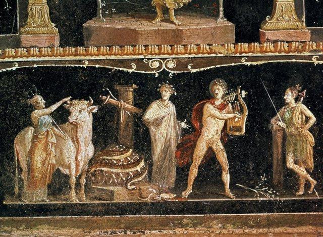 Casa de los Vetti. Pompeya. Este fresco de la casa de los Vetti en Pompeya recrea el episodio de la muerte de la serpiente Pitón a manos del dios Apolo, que aparece representado tocando la lira.