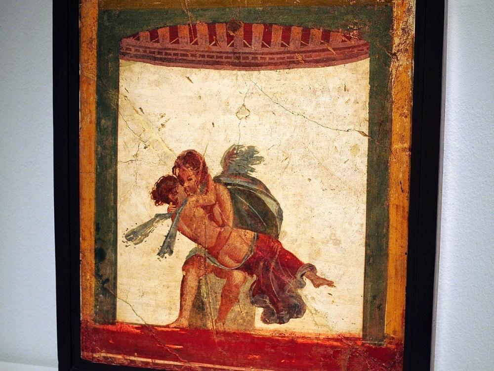 Fresco pompeyano. Eros besando a Psique. Museo Arqueológico de Nápoles.