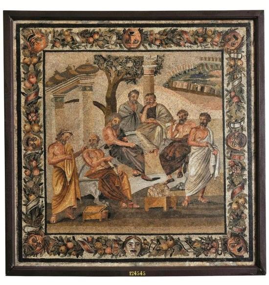 La Academia de Platón. 110-80 a C. Museo arqueológico de Nápoles. Sopraintendenza per i Beni Archeologici di Napoli e Pompei.