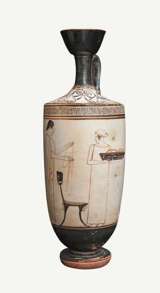 Lécito ático con_escena de preparativos fúnebres. Pintor de Atenas. 470-460 a. C.