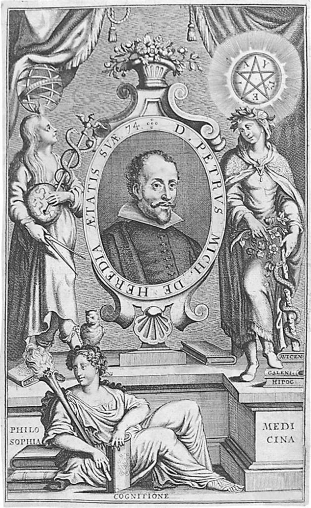 Pedro Miguel de Heredia (1579 - 1655) médico español, catedrático de la Universidad de Alcalá, médico de cámara de Felipe IV. Retrato en la edición de 1664 de su libro, en 4 volúmenes, Opera Medicinalia.