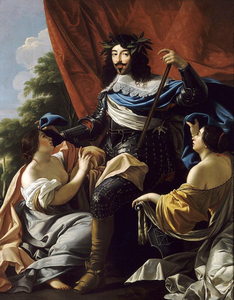 Taller de Simon Vouet. Retrato de Luís XIII, con Francia y Navarra.1624. Versalles.