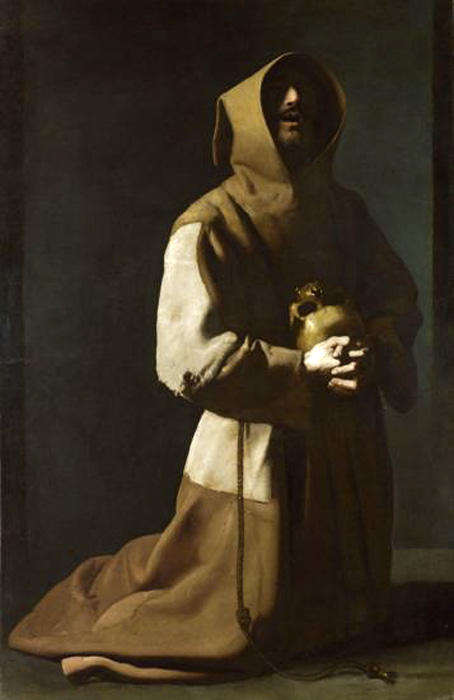 Francisco de Zurbarán. San Francisco meditando. Hacia 1635-1639. National Gallery. Londres.