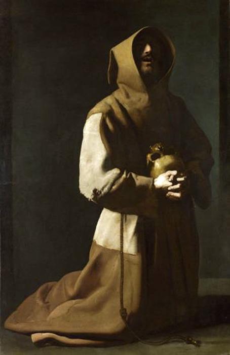 Francisco de Zurbarán. San Francisco meditando. Hacia 1635-1639. National Gallery. Londres.