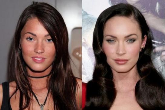 La actriz Megan Fox, a pesar de su belleza y juventud, se ha sometido a retoques en nariz, pómulos, labios y aumento de pecho.
