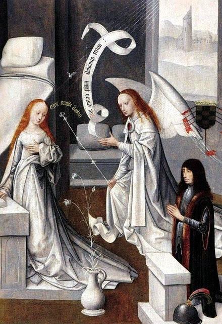 Maestro de la Virgo inter Virgines. Finales del siglo XV. Sección de una tabla flamenca donde el primer Duque de Alba, García Álvarez de Toledo, está orando ante la Anunciación.