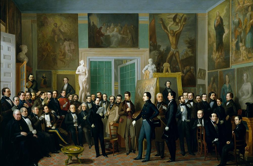 Antonio María Esquivel.Los poetas contemporáneos. 1846. Una lectura de Zorrilla en el estudio del pintor. Museo Nacional del Prado. Madrid.