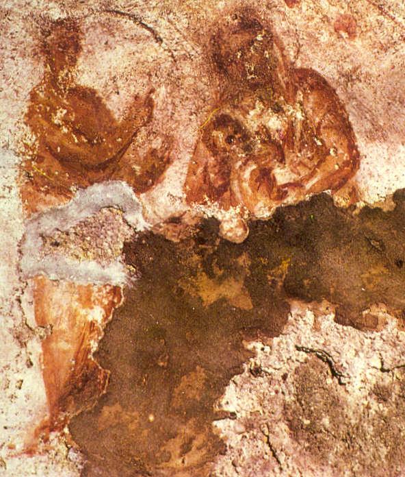 Catacumbas de Priscila. Roma. Escena de la Virgen con el niño y profeta.