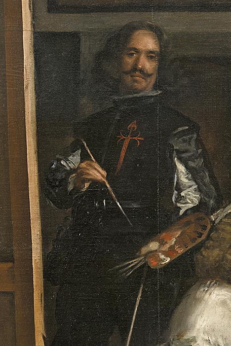 Diego Velázquez. Las Meninas. Detalle. 1656. Museo Nacional del Prado. Madrid. El pintor luce en su pecho la cruz de Santiago.