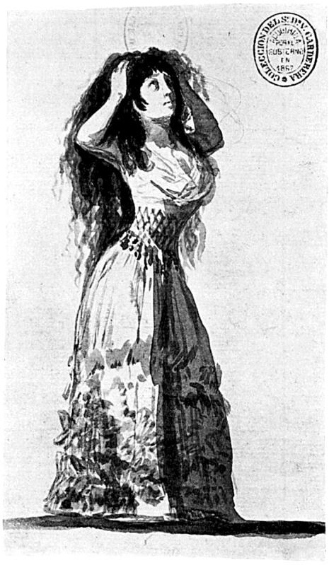 Francisco de Goya. Album de Sanlucar. La duquesa de Alba peinandose. 1796-1797. Biblioteca Nacional. Madrid.