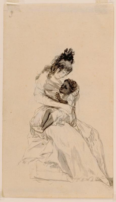 Francisco de Goya. La duquesa de Alba teniendo en sus brazos a María de la Luz.  Álbum de Sanlúcar o álbum A. 1794-1795. Museo del Prado. Madrid.