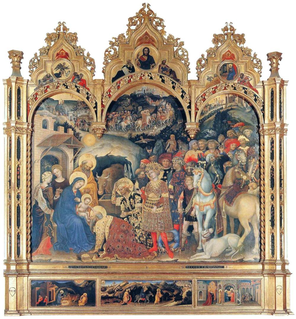 Gentile da Fabriano. Adoración de los Magos. 1423. Galería de los Uffizi. Florencia.