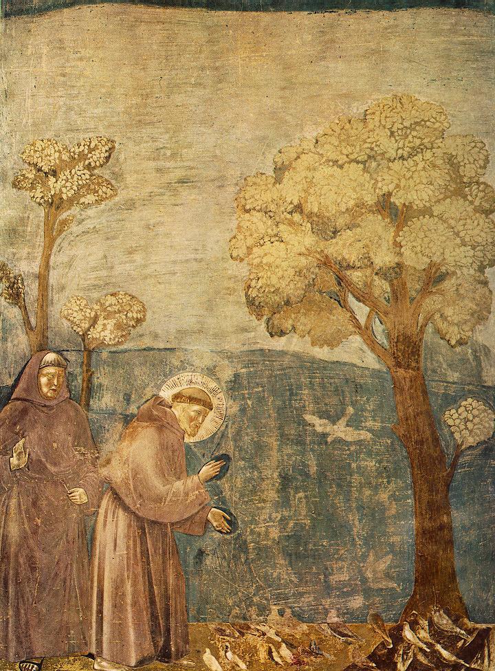 Giotto di Bondone. Leyenda de San Francisco. San Francisco predicando a los pájaros. 1290-1300. Basílica de San Francisco de Asís. Asís.