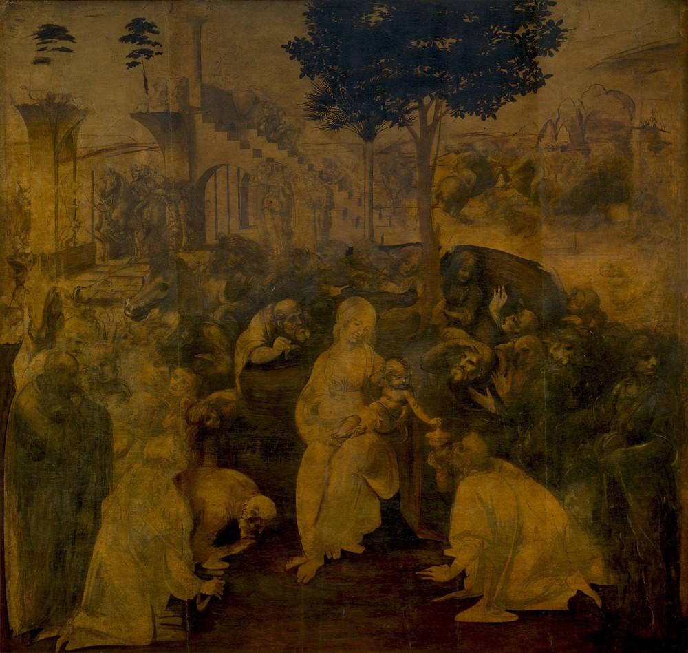 Leonardo da Vinci. La adoración de los Magos.1480-1482 Galería de los Uffizi Florencia.