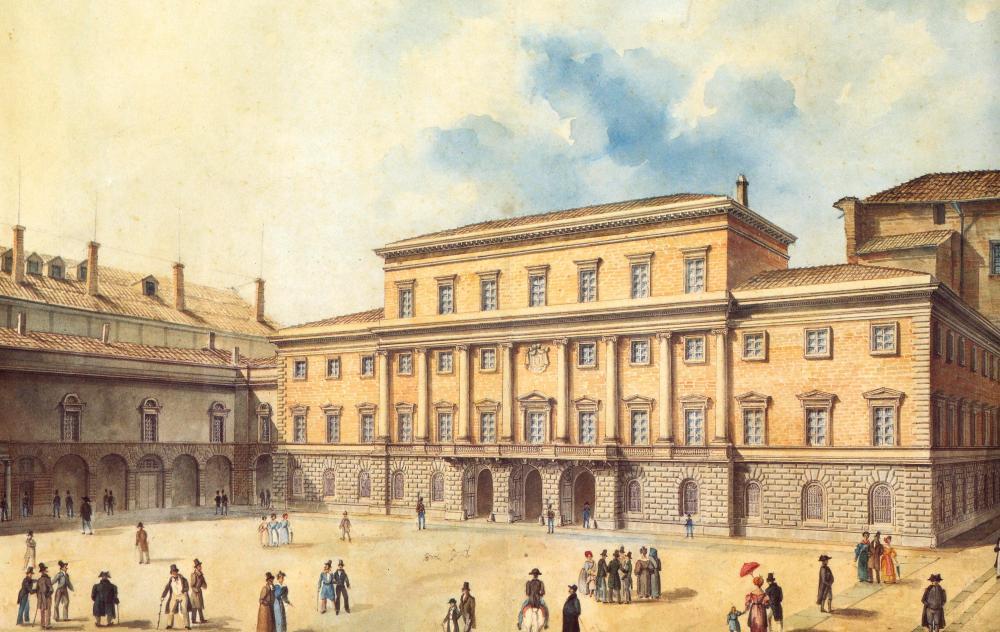 Giacomo Giacopelli. Veduta del Palazzo Ducale e della Pilotta. Hacia 1835. Biblioteca Palatina di Parma.