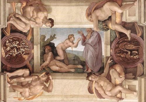 Miguel Angel. Creación de Eva. Capilla Sixtina. El Vaticano.