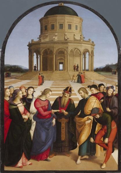 Rafael Sanzio. Los desposorios de la Virgen. 1504. Pinacoteca de Brera. Milán. Rafael presenta a la Virgen María con un vestido rojo y un manto azul.