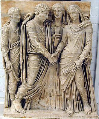 Sarcófago romano con escena de matrimonio 160-80 a. C.