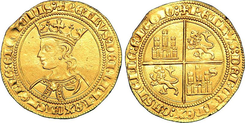 Foto dobla de 35 maravedíes de Pedro I de Castilla.