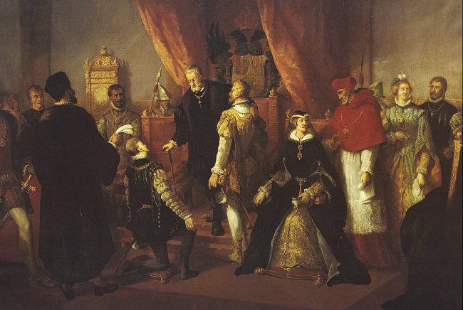Francisco de Paula Van Halen. Abdicación de Carlos V en el salón del trono del Palacio Real de Bruselas. Siglo XIX.