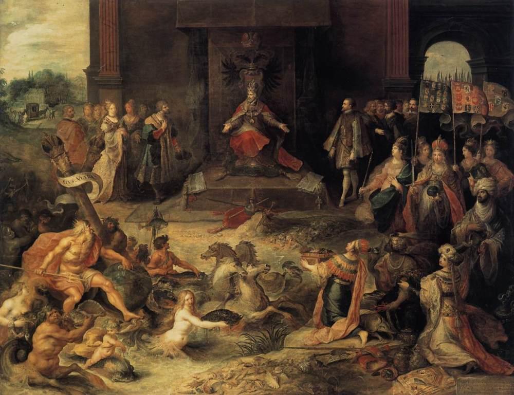 Frans Francken el joven. Alegoría de la abdicación del emperador Carlos V en Bruselas. Hacia 1620. Rijksmuseum. Amsterdam.