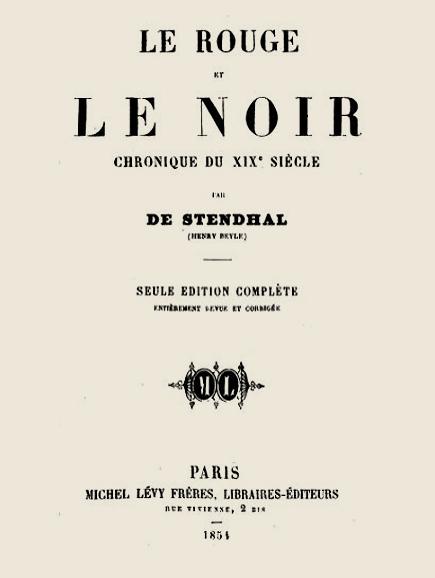 Portada del rojo y el negro.  Stendhal. 1854.