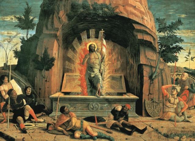 Andrea Mantegna. La Resurrección. Hacia 1457-1459. Museo de Bellas Artes. Tours.