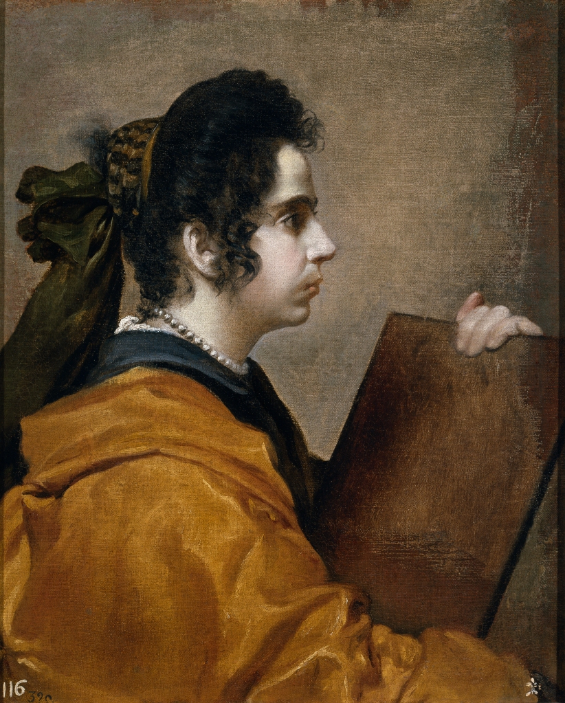 Diego Velázquez. Una sibila. Hacia 1632. Museo del Prado. Madrid. Se apunta como posible retrato de su mujer Juana Pacheco. El cuadro fue comprado por Isabel de Farnesio en 1746, de la Colección Real pasó al Museo del Prado.