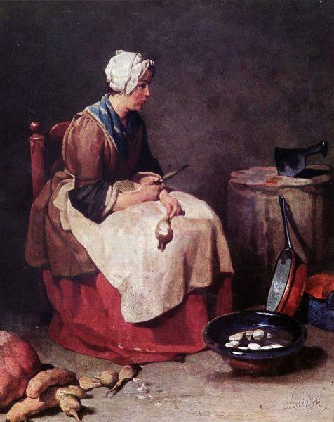 Jean-Baptiste Simeón Chardin. Mujer limpiando nabos. Hacia 1738. Alte Pinakotheck. Múnich.