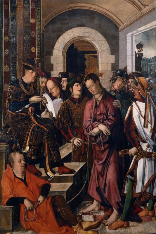 Francisco de Osona y Rodrigo de Osona. Cristo ante Pilatos. Hacia 1500. Museo del Prado. Madrid.