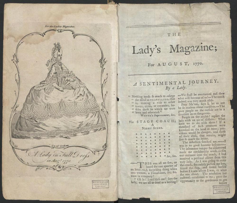 The Lady´s Magazine. Portada de la primera edición. Agosto 1770.