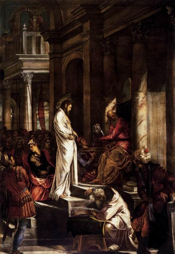 Jacopo Tintoretto. Cristo ante Pilato. Hacia 1566-1567. Scuola Grande di San Rocco. Venecia.