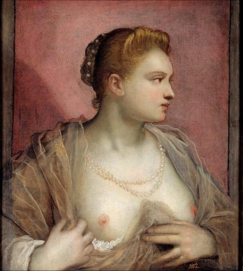 Domenico Tintoretto. Dama descubriendo el seno. 1580-1590. Museo del Prado. Madrid.