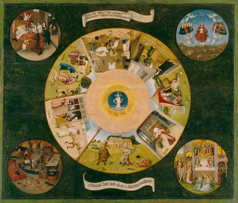 El Bosco. Mesa de los siete pecados capitales. 1450-1516. Museo del Prado. Madrid.