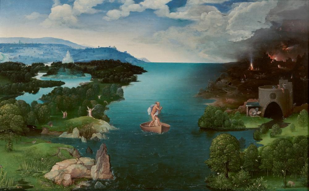 Joachim Patinir. El paso de la laguna Estigia. 1520-1524. Museo del Prado. Madrid.