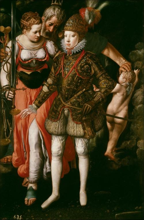Justus Tiel. Alegoría de la educación del monarca hispano Felipe III de España. 1590. Museo del Prado. Madrid.