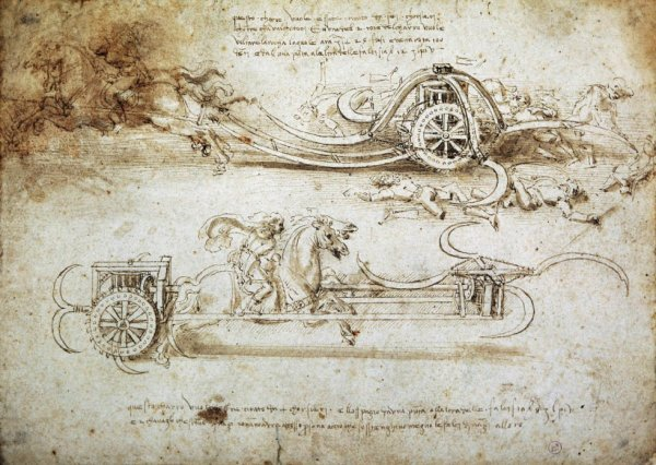 Leonardo da Vinci. Estudio para carros de asalto. 1482-1485. Biblioteca Real de Turín.