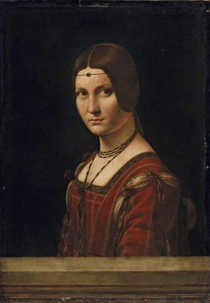 Leonardo da Vinci. Retrato de dama. La Belle Ferronnière' o 'Presunto retrato de Lucrezia Crivelli', 1493-1495. Museo del Louvre. Paris.