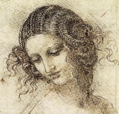 Leonardo da Vinci. Estudio para la cabeza de Leda. Hacia 1505-1507.