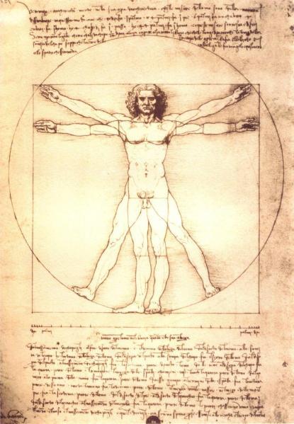 Leonardo. Hombre de Vitrubio. 1490. Galería de la Academia. Venecia. También es conocido como el Canon de las proporciones humanas. El artista realizó un estudio de las proporciones del cuerpo humano, realizado a partir de los textos Marco Vitruvio (siglo.I a.C), arquitecto de la antigua Roma, del que toma su nombre.