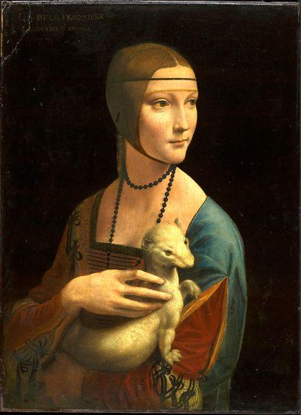 Leonardo da Vinci. La dama del armiño. Hacia 1488-1490. Museo Czartoryski. Cracovia. Polonia. La bellísima joven no lleva en sus brazos un armiño sino un hurón.