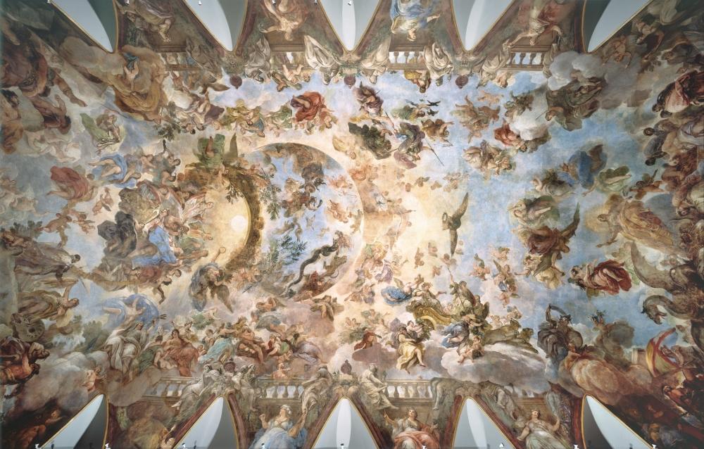 Luca Giordano. Bóveda con la Alegoría del Toisón, o Apoteosis de la Monarquía Española. Hacia 1697. Museo del Prado.