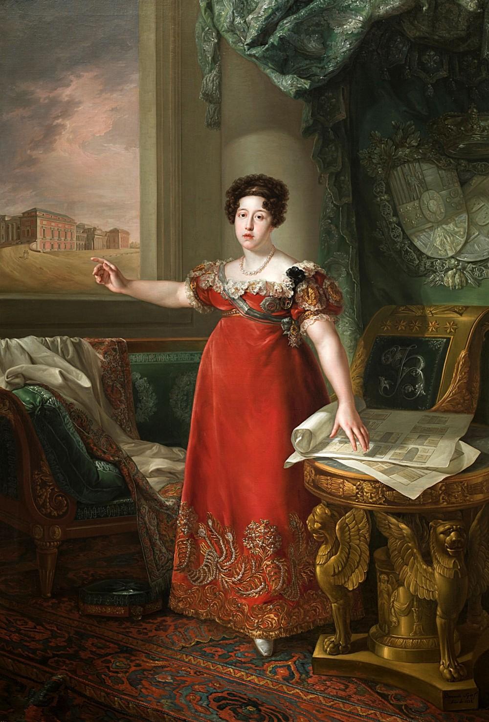 Bernardo López Piquer. María Isabel de Braganza como fundadora del Museo del Prado.1829. Museo Nacional del Prado. Madrid.