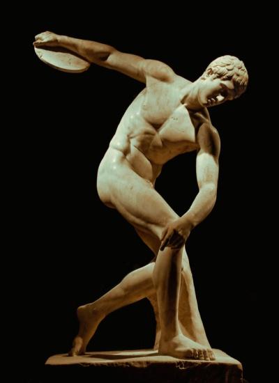 Mirón de Eléuteras. Discóbolo. Hacia 455 a. C. Galería Nacional. Roma.