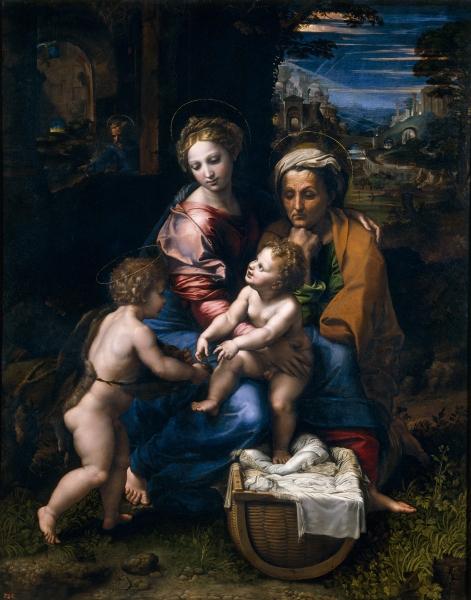 Rafael Sanzio. Sagrada Familia, llamada la Perla. 1519-1520. Museo del Prado. Madrid.