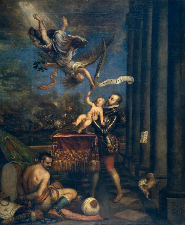 Tiziano. Felipe II ofreciendo al cielo al infante don Fernando. 1573-1575. Museo Nacional del Prado. Madrid.